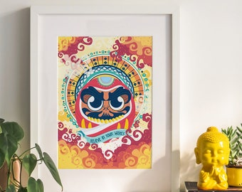 DARUMA PRINT • Vector Illustration • Zen decor, Luck, Amulet, Wall Art, Faith, Eastern, Japanese, Bodhidarma