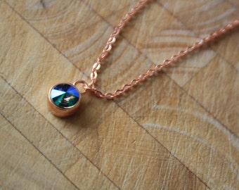 Swarovski Pendant Necklace, Rose Gold Plated, Paradise Shine Rivoli Charm Necklace