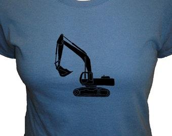 Digger Excavator Womens Shirt - Organic Shirt - 4 Colors Available - Organic Bamboo and Cotton Womens T Shirt - Gift Friendly