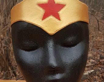 Warrior Woman Leather Tiara - Pointed Classic Gold with Red Star Comic Costume Accessory
