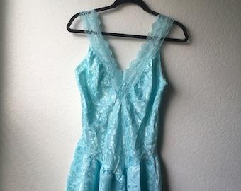 Vintage Baby Blue Lace Babydoll Dress