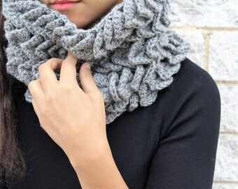 Ready to ship Crochet winter scarf,  The Abela- Grey fashion scarf, Gift for her, Korean fashion,