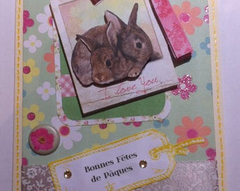 Card 3D Easter bunnies Couple and pink bow