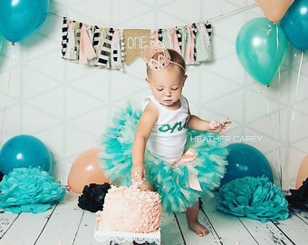 Tutu Dress | Birthday Tutu | Baby Tutu Skirt | Teal Birthday Tutu | Strawberrie Rose | Teal Mint Peach Boho 1st Birthday Tutu
