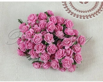 60 Mini Pink Handmade Mulberry Paper Wedding Scrapbooking Craft Roses HM-3