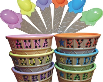 "Ice Cream Bowl **SALE** Personalized Party Favor / Kid's Personalized Ice Cream Cup with Spoon / 4"" wide x 2.5"" tall / Ice Cream Dish"