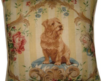 Lee Jofa Putting On the Dog Norfolk Terrier Linen Tapestry Cushion Pillow Cover Sham