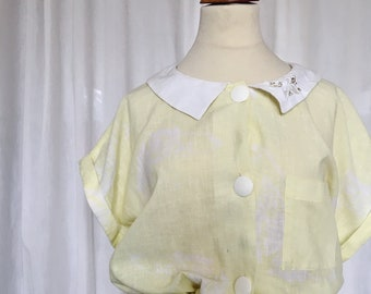 Vintage dress in cotton and linen yellow, white, lace, spring, summer