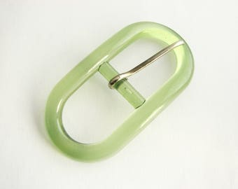 Transparent green buckle, plastic belt buckle in oval shape, for 20 mm belts, unused!!