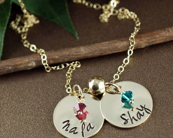 Gold Mommy Necklace, Personalized Name Necklace, Birthstone Name Necklace, Hand Stamped Mommy Necklace, Mothers Necklace, Mother's Day Gift