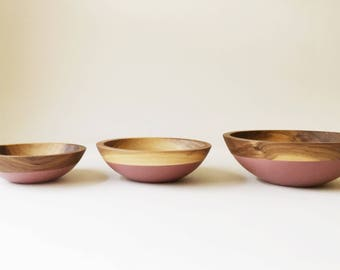 Walnut and Mauve nesting bowl set of 3, Color dipped bowls, serving bowls, wedding gift by Willful Goods