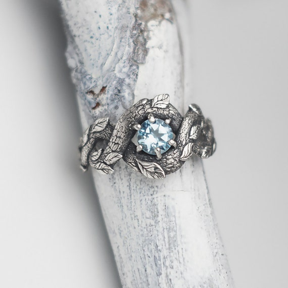 Blue Dragon Ring Nature Inspired Engagement Ring Wedding