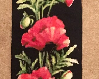 Dramatic cross stitch artwork poppies