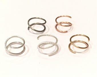 Double pierced earring/Hoop Earrings for two Piercings/ Double Piercings/ Double Spiral