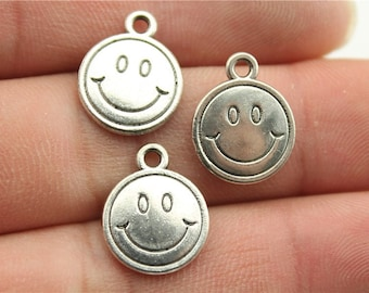 10 Happy Face Charms, 2 Sided, Antique Silver Tone (1D-252)