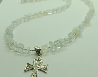 Opalite Gemstone Chips Sterling Silver Egyptian Ankh Pendant Necklace