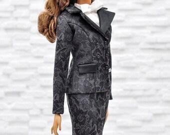 "ELENPRIV black jacquard jacket with full satin lining for Fashion royalty FR:16 ITBE 16"" and similar body size dolls"