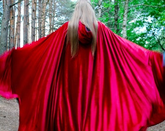 Velvet cloak; hooded cape; forest druid; medieval cape; elven cloak; wizard; witch; long cape