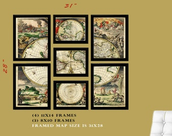 Antique Map of the world , FRAMED Map set of 7 Archival Prints, World Map,World Map 1680s