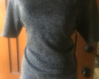 Vintage Silver Grey shimmering lurex pullover top shirt blouse VLV top rockabilly size Large