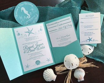 Turquoise Beach Destination Wedding Invitation