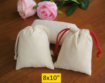 50 8x10 Wedding Gift Bags Jewelry Packaging Custom Cotton Muslin Bags Calico Pouches