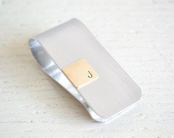 Money clip - silver and brass personalized two toned initial money clip handcrafted in the USA - Groomsmen gifts for him