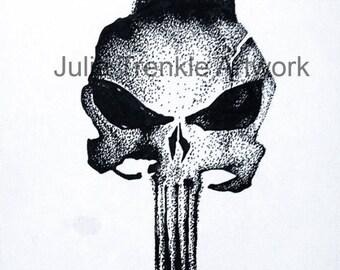Punisher Skull Drawing