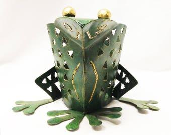 Adorable Green Frog Votive Holder