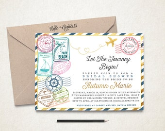 Travel Bridal Shower Invitation/Traveling From Miss To Mrs Bridal Shower/Postage Stamps Invite-Postage Stamps Travel Theme Party