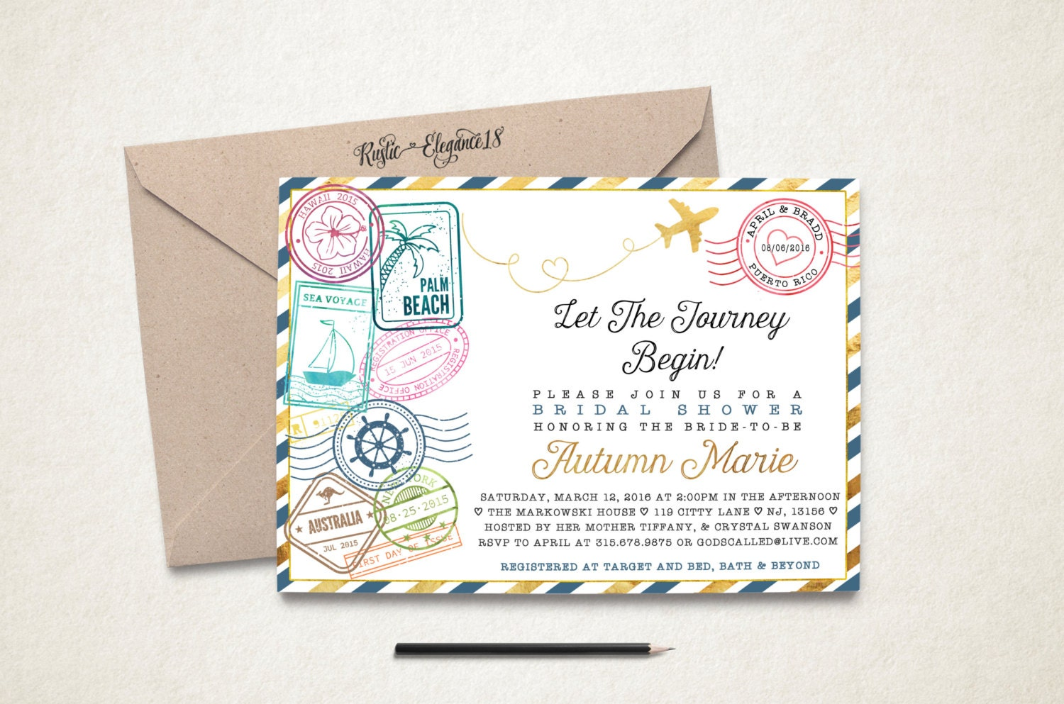 Travel Bridal Shower Invitation/Traveling From Miss To Mrs