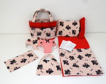 Plaid Scottie Dog - Doll Diaper Bag and Diapers with Blanket and Pillow for American Girl Bitty Baby doll