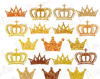 Gold Glitter crown clipart, Gold Crowns clip art, Sparkly Crown clipart Cake toppers, Princess party (CG205)
