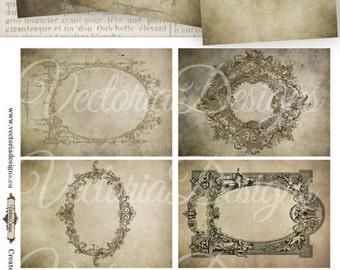 Antique Frames ATC vintage images 2.5 x 3.5 digital background printable instant download collage sheet VD0709
