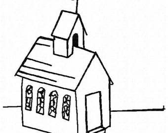 Church Machine Embroidery Design - Instant Download