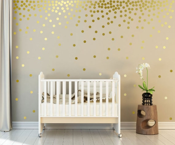 "Metallic Gold Wall Decals Polka Dots Wall Decor - 1"" Inch, 1.5"",2"",2.5"",3"", 3.5"", 4""  Inches Circle Vinyl Decals Dot Wall stickers"