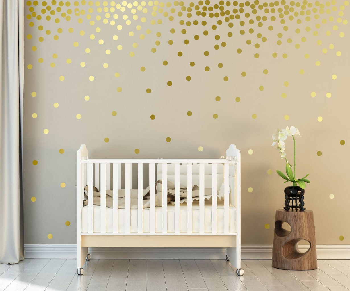 Beautiful Metallic Gold Wall Decals Polka Dots Wall Decor   1 Inch, 1.5,2,2.5,3, 3.5,  4 Inches Circle Vinyl Decals Dot Wall Stickers