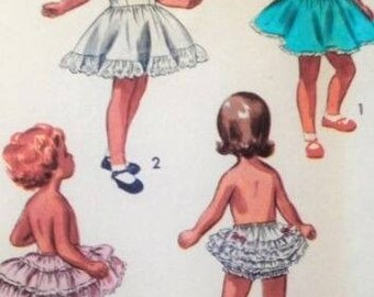 Vintage 1950s Sewing Pattern Girls Circle Slip, Ruffled Petticoat, Frilly Panties Age 2