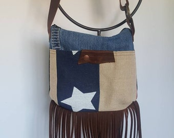 Crossbody bag, crossbody purse, messenger, festival bag, fringe, leather bag, American flag, bag, purse, small crossbody, boho bag, boho