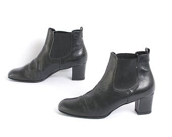 size 7.5 PLATFORM black leather 80s 90s CHELSEA CHUNKY slip on ankle boots