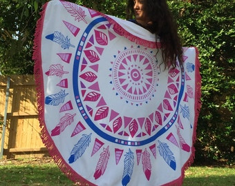 Round Mandala Beach Towel with Fringe ~ SUMMER DREAMS