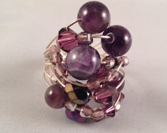 Amethyst and Swarovski Crystal Sterling Silver Wire Wrapped Ring