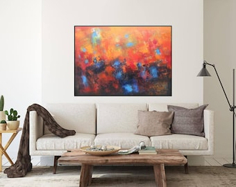 "horizontal over the sofa painting original oil on canvas abstract art 40""x30"" XL painting home decor red navy blue brown black one of a kind"