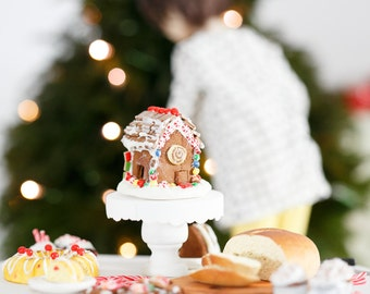 SALE! Playscale Miniature Decorated Holiday Christmas Gingerbread House for Barbie Blythe Momoko and Other One Sixth Scale Dolls & Dioramas