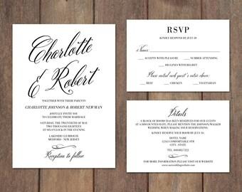 Wedding Invitation Suite, Response Card, Details, Elegant Wedding Invitation Suite, Classic Wedding Invitation Set - Charlotte