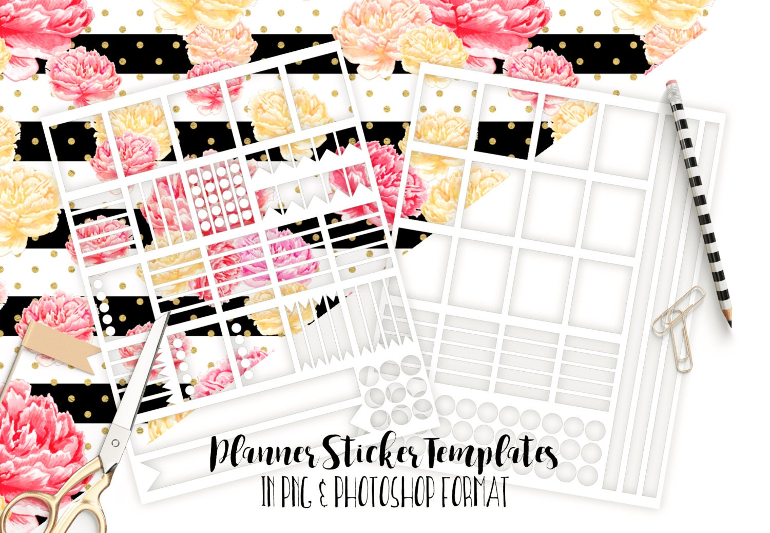 PLANNER STICKER TEMPLATES Commercial Use Blank Diy Sticker for Planner Stickers Template  157uhy