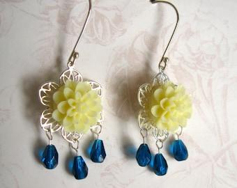 Yellow Flower Earrings, Chandelier Earrings, Blue and Yellow Flower Sterling Earrings, Gift for Her Jewelry sale