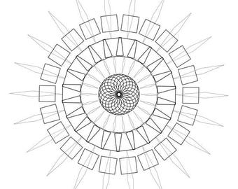 Downloadable Adult Coloring Page: Generative Mandala. Math