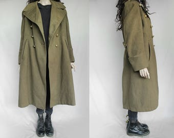1950s Vintage High Quality Army Military Issued Sturdy Loden Coat for Women or Men