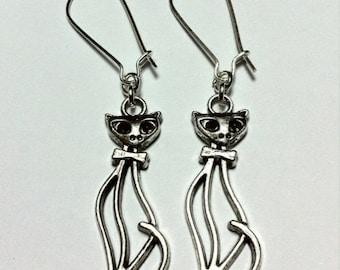 Silver Cat Earrings - Super Slinky Siamese Cats